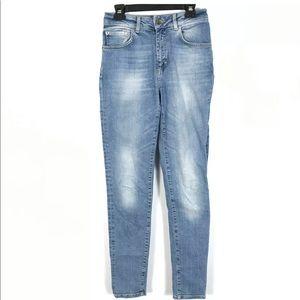 Zara Denim Distressed Skinny Jeans Medium Wash